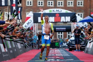 COPENHAGEN, DENMARK - AUGUST 23:  Andreas Niedrig of Germany celebrates finishing in third place during the Ironman Copenhagen race on August 23, 2015 in Copenhagen, Denmark.  (Photo by Harry Engels/Getty Images for Ironman)