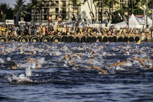 Kailua Kona, Hawaii - October 10th 2015: Triathletes compete in the 3.8km swim during the IRONMAN World Championship presented by GoPro on October 10th 2015, Kailua Kona, Hawaii.  (Photo by Jason Rappaport/IRONMAN via Getty Images) IRONMAN Triathlon consists of a 3.8km swim, then a 180km bike ride and finally a 42.2 km run all without a break. Thus, IRONMAN is considered one of the most difficult endurance events in the world.