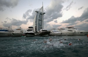 DUBAI, UNITED ARAB EMIRATES - JANUARY 29: The start of the Men's professional race is pitured during the IRONMAN 70.3 Dubai on January 29, 2016 in Dubai, United Arab Emirates. (Photo by Warren Little/Getty Images for Ironman)
