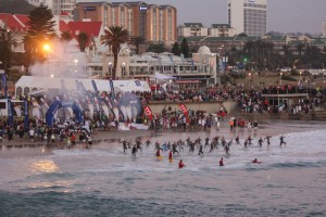 """PORT ELIZABETH, SOUTH AFRICA - APRIL 10: In this handout image provided by Ironman a general view of the swim start during the Standard Bank IRONMAN African Championship at Nelson Mandela Bay, Port Elizabeth on April 10th, 2016 in Port Elizabeth, South Africa. (Photo by Craig Muller/IRONMAN via Getty Images)"""