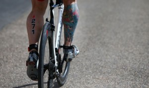 """AIX-EN-PROVENCE, FRANCE - MAY 01: A participant shows off his leg tattoo during Ironman 70.3 Aix en Provence on May 01, 2016 in Aix en Provence, France. (Photo by Charlie Crowhurst/Getty Images for Ironman) *** Local Caption ***"""
