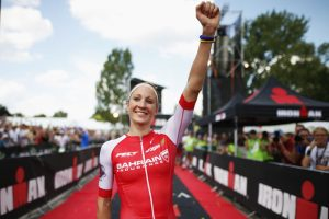 ZURICH, SWITZERLAND - JULY 24: Daniela Ryf of Switzerland celebrates winning the womens race during Ironman Zurich on July 24, 2016 in Zurich, Switzerland. (Photo by Joern Pollex/Getty Images)