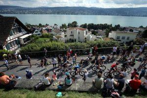 ZURICH, SWITZERLAND - JULY 24:  Athletes compete on the bike section of Ironman Zurich on July 24, 2016 in Zurich, Switzerland.  (Photo by Nigel Roddis/Getty Images)