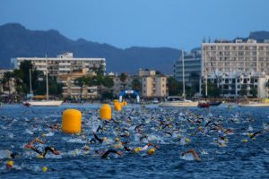 PALMA DE MALLORCA, SPAIN - SEPTEMBER 24: Participants compete in the swim leg during Ironman Mallorca on September 24, 2016 in Palma de Mallorca, Spain. (Photo by Charlie Crowhurst/Getty Images for Ironman).
