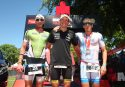 KRAICHGAU, GERMANY - JUNE 11: Sebastian Kienle (C), Markus Rolli and Marc Duelsen pose on the podium after Ironman 70.3 Kraichgau on June 11, 2017 in Kraichgau, Germany. (Photo by Joern Pollex/Getty Images)