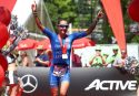 KRAICHGAU, GERMANY - JUNE 11: Laura Philipp of Germany celebrates after winning the Ironman 70.3 Kraichgau on June 11, 2017 in Kraichgau, Germany. (Photo by Joern Pollex/Getty Images)