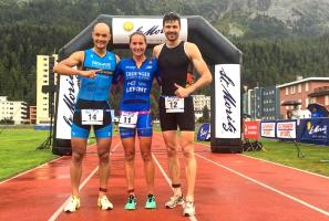 Andreas Dreitz, Laura Philipp und Franz Löschke beim Triathlon in St. Moritz 2017