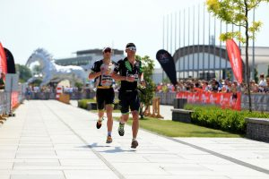 BRATISLAVA, SLOVAKIA - JUNE 3: Lionel Sanders of Canada and Sebastian Kienle of Germany contest first place on the run course during The Championship Challenge Triathlon on June 3, 2017 in Bratislava, Slovakia. (Photo by Stephen Pond/Getty Images for Challenge Triathlon) *** Local Caption *** Lionel Sanders; Sebastian Kienle