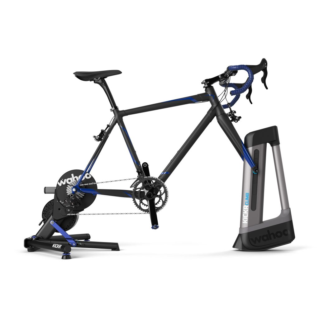 Die verstellbare Fahrradgabel des KICKR Climb macht Bertraining auf der Rolle noch realistischer