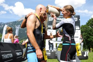 SAALFELDEN,AUSTRIA,26.MAY.17 - TRIATHLON, RUNNING - Trimotion 111 / 55.5. Image shows Joerg Schneider, Franziska Arnhofer (GER) and Doris Gschwandtl (AUT).<br /> Photo: GEPA pictures/ Daniel Goetzhaber