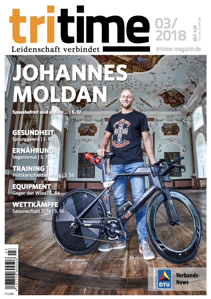 Titelbild tritime #48 |Schwerpunktthema Johannes Moldan, Wettkampfvorbereitung, Ernährung, Gesundheit, tritime women