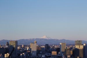 Views across Tokyo skyline towards Mount Fuji