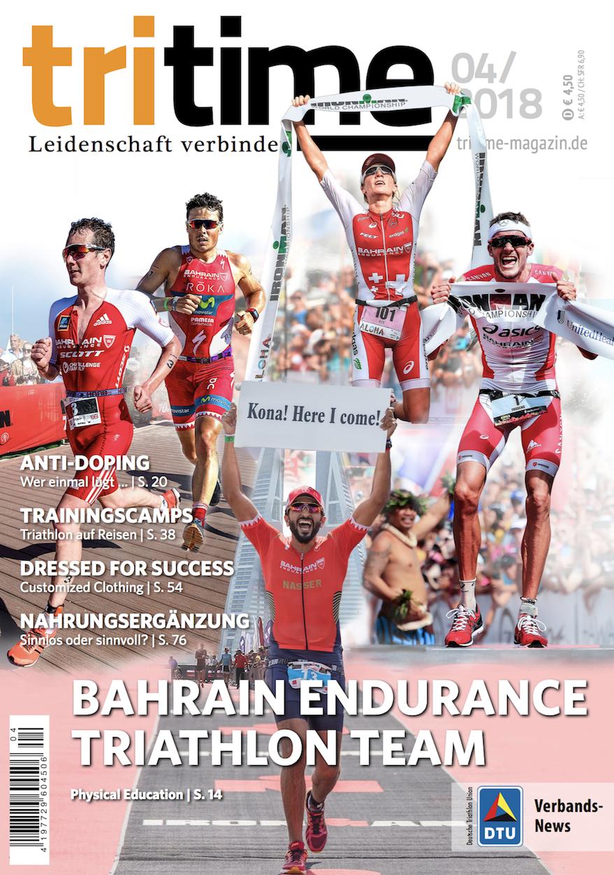 Titelbild tritime #49 |Schwerpunktthema Bahrain Endurance Triathlon Team, Anti-Doping, Nahrungsergänzung, Trainimngscamps, Bekleidung