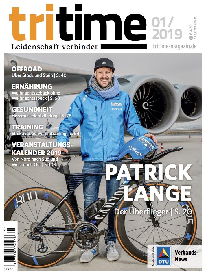 Titelbild tritime #50 |Schwerpunktthema Patrick Lange, Offroad - Über STock und Stein, Herzmuskelentzündung, Veranstaltungstermine 2019